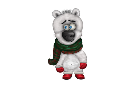 Illustration of funny cute polar bear in winter clothes