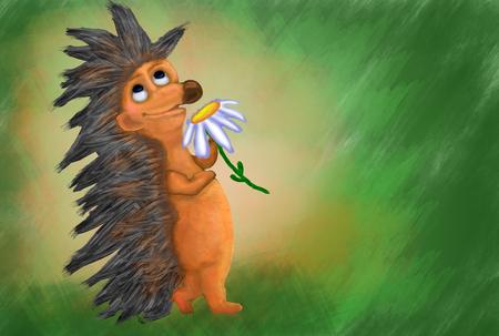 Hedgehog with flowers dreams. Hedgehog lovers Valentine illustration