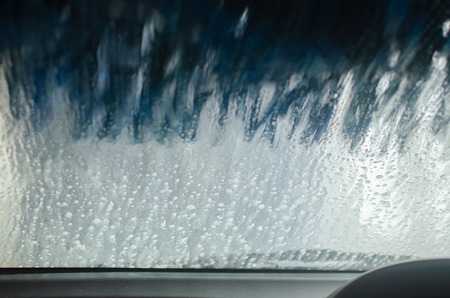 View from inside a car being washed at a car wash