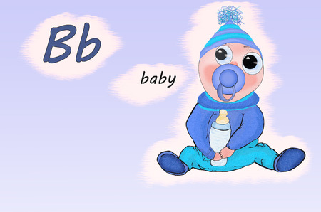 Illustration for teaching children the English alphabet with cartoon baby. The letter B.
