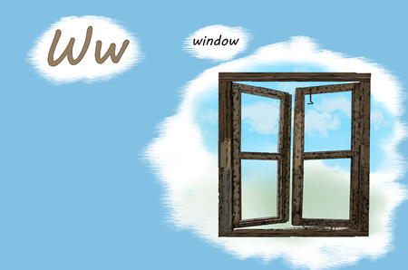 Illustration for teaching children the English alphabet with cartoon window. The letter W.
