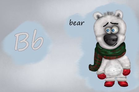 Illustration for teaching children the English alphabet with cartoon bear The letter B.