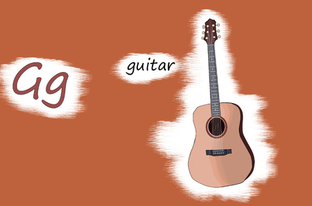 Illustration for teaching children the English alphabet with cartoon guitar. The letter G. 写真素材