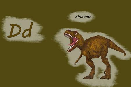 Illustration for teaching children the English alphabet with cartoon dinosaur,.The letter D.