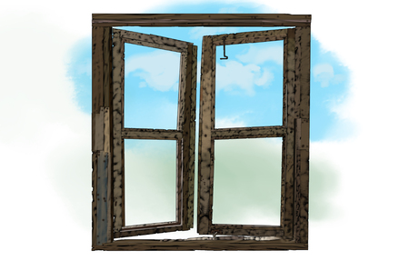 Illustration of an open window looking out to blue sky and clouds