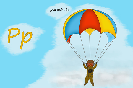 Illustration for teaching children the English alphabet with cartoon parachute. The letter P.