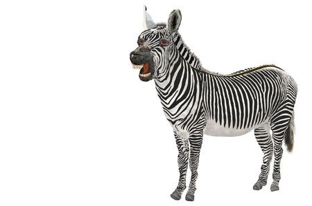 African herbivore wild Zebra, with black and white stripes on the body. Stock Photo