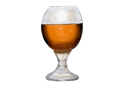 White background and the large glass of strong alcoholic drink