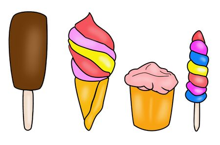 Set of ice creams different in taste and shape. Cold delicacy with different topping. Фото со стока