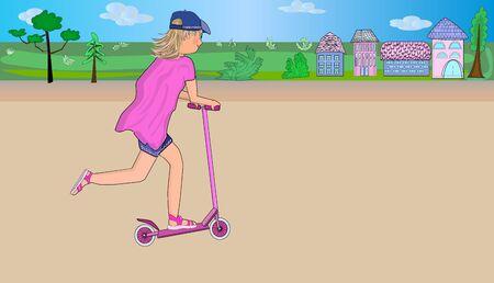 Active sport and walk.  Eco alternative city transport. Vector illustration