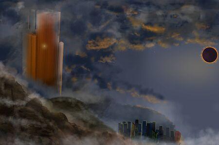 Solar eclipse over the dark futuristic urban. Dark futuristic urban illustration 写真素材
