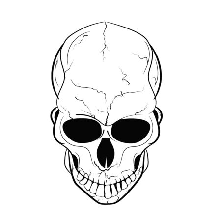 Outline vector illustration isolated on white background for pirate party, Halloween and much more.