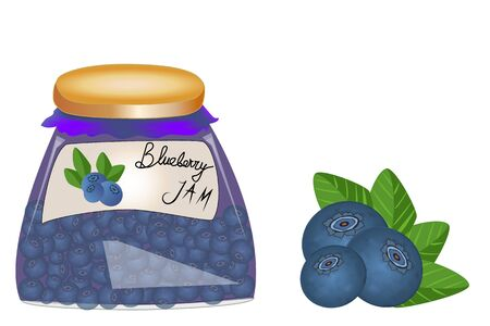 Delicious vegan jam in a jar, made of ripe juicy blueberry, fresh berries with leaves, isolated. Glass jar with blueberry jam on white background.
