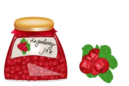 Delicious vegan jam in a jar, made of ripe juicy lingonberry, fresh berries with leaves, isolated. Glass jar with lingonberry jam on white background. Label for jam.