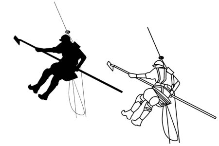 Vector of workers icon with a picture of industrial climber. Window and building facade cleaning.