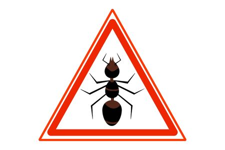 Anti ant sign for insecticide. Pest control sign. Warning sign ant's. Signs prohibition insects. Warning symbol isolated on white background. Signal of insect pest. Pest control. Vector illustration