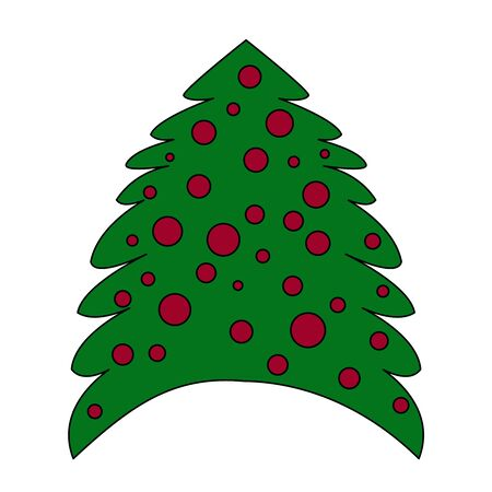 Christmas tree with red balls isolated on white background. Fir tree icon, minimal flat design style. Simple Christmas tree vector illustration, pine symbol. Green silhouette decoration sign. Ilustracja