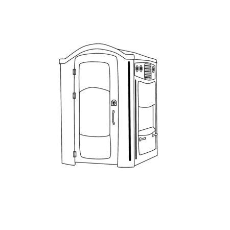 Icono de esbozo de baño público. signo de estilo lineal para concepto móvil y diseño web. Icono de línea simple de baño de calle portátil, símbolo. Ilustración vectorial. Signo de cabina de WC de baño biológico público.