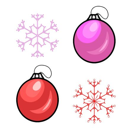 Red color christmas balls and snowflakes. Vector Illustration.