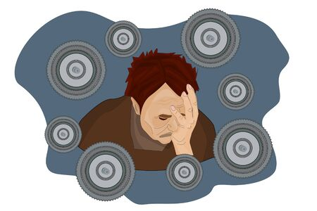 Illustration of a sad adult man in depressive state of mind. Mental disorder, illness, psychological problem. Concept of psychological trauma, stress.Flat stock vector isolated on white background Illustration