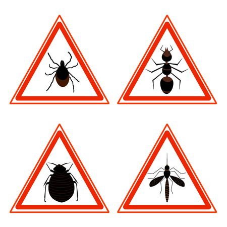 Collection of red triangular warning signs and symbols with icons of pests, tick, ant, fleas and mosquito. Stop hazards signal with insects, bugs, parasite. Stock vector isolated on white background.
