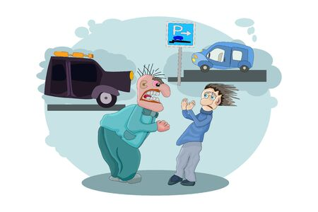 Anger concept. Angry driver shouting on owner other automobile. Man screaming loudly. Emotional driver in rage. Conflict between drivers. Two aggressive men argue on the street. Flat stock vector Illustration