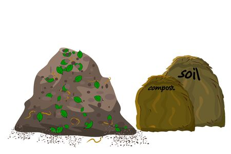 Pile soil. Zero waste. Eco farming. Cartoon design. Stock vector illustration.