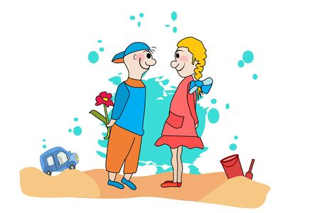 Valentine's day. Boy congratulates girl. Cartoon nice couple in love isolated on white background. Valentine's Day romantic people in love.Little boy giving flower to girl. Stock vector in flat style