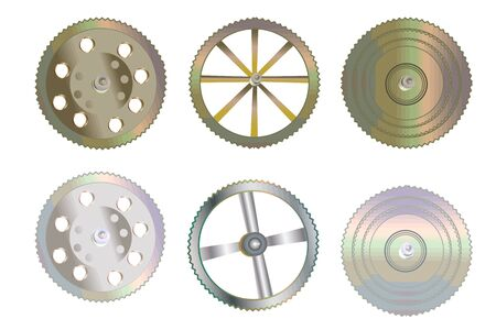 Collection of gears isolated on white background.Technology gears wheel. Set of gear or cogs icon. Can be used for industrial, technical, mechanical and steampunk design. Stock vector illustration.