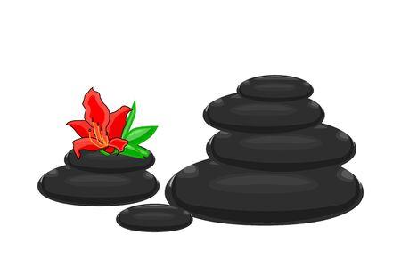 SPA Pebbles with azalea flower isolated on white background. Black  stones illustration for spa salon, cosmetics, massage, yoga center, wellness, beauty salon and medicine designs. Stock vector