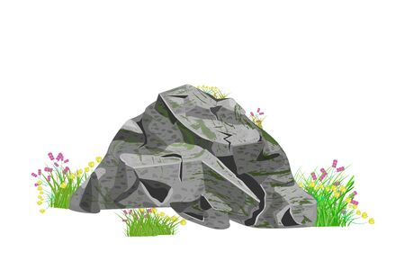 Stones and grass isolated on white background. Cartoon grey natural boulder, stone or rock with grass and flowers. Park or garden, landscape elements. Spring or summer scene illustration.Stock vector