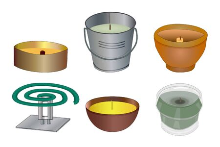 Set mosquito repellent candles and coil isolated on white background. Collection citronella candles used as mosquito repellent. Natural plant based insect repellent. Stock vector illustration.
