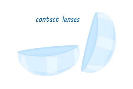 Contact lenses isolated on white background. Eye contact lenses template. Cartoon style illustration of medical devices, optic eye care accessory. Packaging and product ads design. Stock vector Ilustração