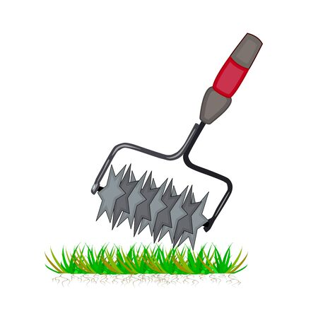 Lawn aeration tool isolated on white background. Color cartoon lawn aeration machine icon. Lawn grass care clipart service, gardening and landscape design. Simple flat symbol. Vector illustration.