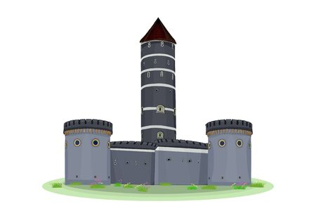 Cartoon medieval tower of a castle isolated on white background. Medieval castle with fortified wall and towers. Ancient castle, fortress, citadel or stronghold with arches . Flat gray stock vector.