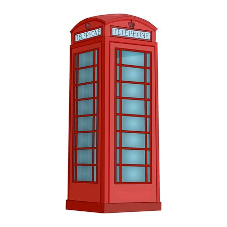 London phone booth isolated on white background. Red telephone box. British realistic style phone cabin. Traditional English phone street box. UK classic culture objects. Stock vector illustration