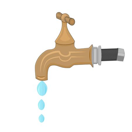 Water tap with falling drop isolated on white background. Water faucet in cartoon flat style. Concept on the water saving, conservation of natural resources. Hot water. Plumbing services. Vector 向量圖像