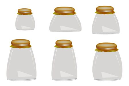 Set of glass jars for canning and preserving, isolated on white background. Collection of empty glass different sizes jars with lids in realistic style. Set of cans for new packaging design. Vector