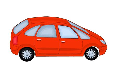 Red car isolated on white background. Side view, flat style red car. Red realistic sedan. Transport vehicle. For web site, mobile application and Car sharing or rental advertising banner. Stock vector