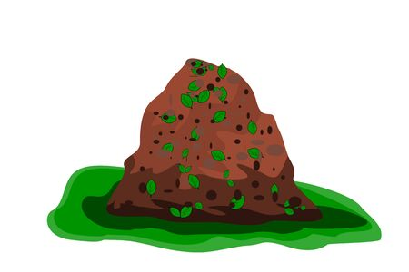 Pile of soil isolated on white background. Heap of earth, organic fertilizer, compost. Hill of brown substrate. Ground with organic garbage. Zero waste. Colored flat icon, cartoon design. Stock vector Vettoriali