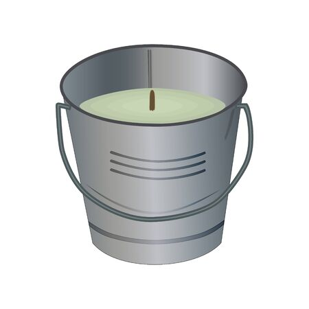 Citronella bucket candle isolated on white background. Citronella candles used as mosquito repellent. Natural plant based insect repellent. Mosquito repellent candles. Stock vector illustration Illustration