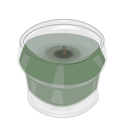 Scented citronella candle isolated on white background. Mosquito repellent citronella glass candle. Aroma tealight candle in glass candlestick for holidays. Aromatic wax round spa candle. Stock vector
