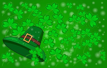 Saint Patricks day background with sprayed clover leaves or shamrocks. St. Patrick's Day card. Clover leaves with hat on dark green background for greeting holiday design. Stock vector illustration