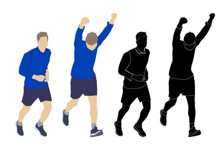 Set runners men silhouettes isolated on white background. Collection of colored and black joggers silhouettes. Active people. International multi-sport event. Healthy lifestyle. Stock vector illustration Illustration