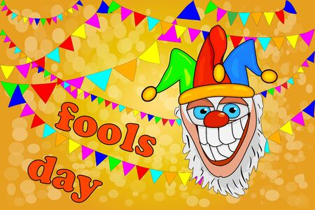 Design banner for April Fools Day with crazy jester and garlands. Poster template for Holiday of jokes, carnival festival, fun fair, circus show. Card of Red Nose Day. April fools day concept. Stock vector Illustration