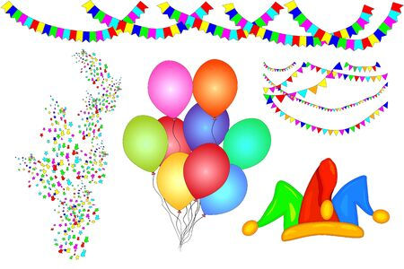 Party elements set of confetti, paper garlands, balloons, jester hat, isolated on white background. Holiday objects for birthday invitation, card design, banners, placard. Stock vector illustration