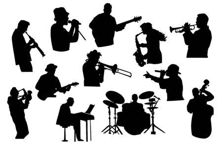 Définir des silhouettes noires de musiciens isolés sur fond blanc. Musiciens de groupe de jazz, de rock ou de pop jouant des instruments. Collection de chanteurs et musiciens dans différentes poses. Illustration vectorielle stock