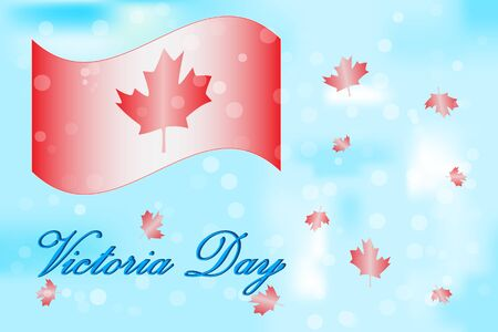 Victoria Day in Canada. Canada flag, maple leaf in bokeh backdrop for celebrate the Victoria day. Background with copy space for design of postcard, poster, banner, site, print. Stock vector illustration