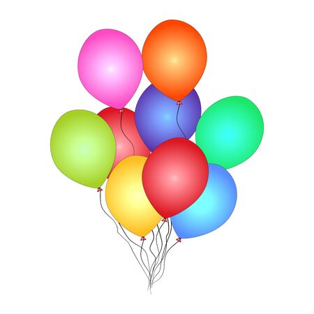 Bunch of helium balloon isolated on white background. Festive colored balloons for happy birthday, anniversary holiday invitation. Party decoration, Valentines day and celebrations event design. Stock vector illustration
