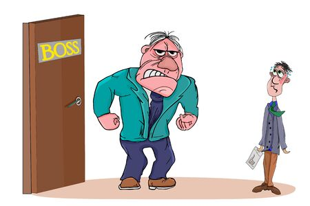 Angry boss with employee isolated on white background. Boss man character screams on worker. Boss or business leader feeling angry and blames his employee. Conflicts at work. Cartoon stock vector illustration